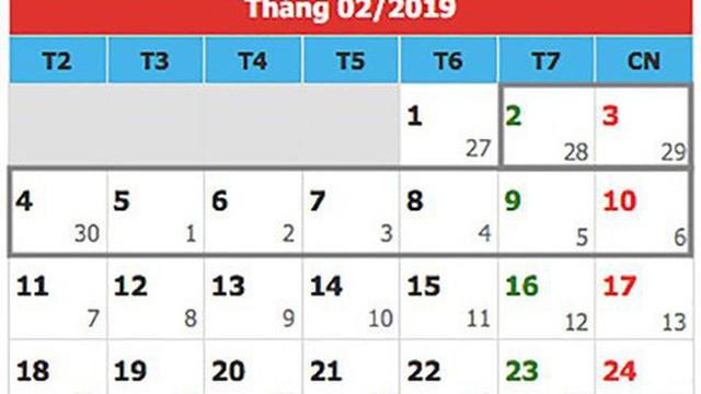 Tết Nguyên đán 2019 có thể được nghỉ bao nhiêu ngày?