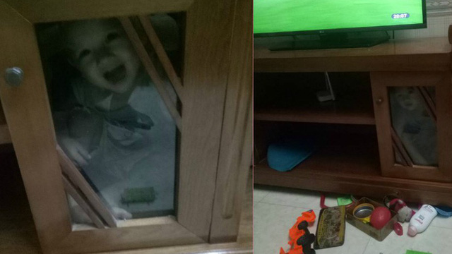 Cậu bé biến mất khiến cả nhà phải tìm, nhìn vào tủ tivi ai cũng giật mình