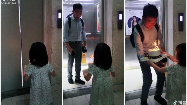 """Mở cửa thang máy, bố """"đứng hình"""" trước món quà bất ngờ từ cô con gái nhỏ"""