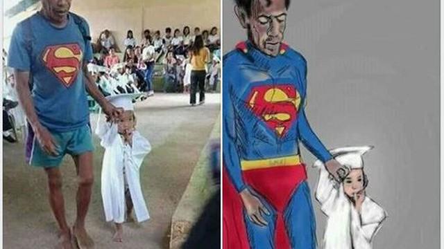 Hình ảnh ông bố 'Superman' đi chân đất đến dự lễ tốt nghiệp mầm non của con gái khiến nhiều người cay mắt