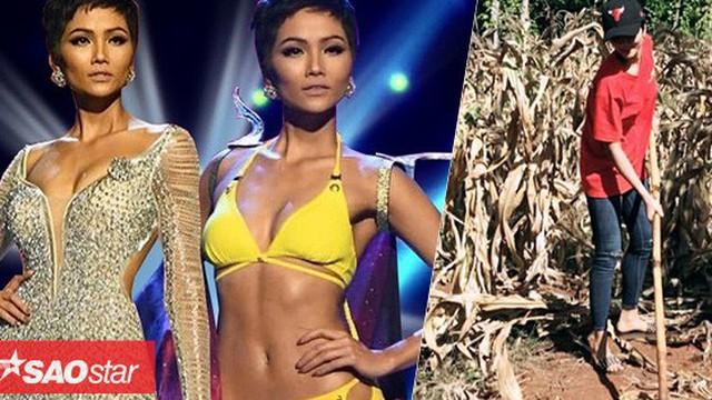 H'Hen Niê: Tháng trước 'gây bão' Miss Universe, 30 ngày sau về quê cuốc ruộng bắp