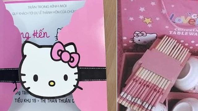 Cô gái cuồng Kitty: Thiệp cưới in hình Kitty hồng còn 'lầy lội' mong quý khách tặng quà Hello Kitty thay cho mừng phong bì