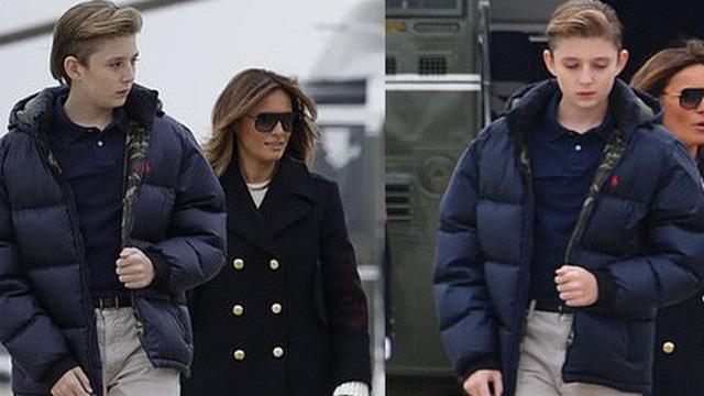 Xuất hiện lạnh lùng, không một nụ cười, quý tử nhà Trump vẫn gây sốt bởi vẻ ngoài hút hồn, nổi trội hơn cả bố mẹ với chiều cao gây choáng