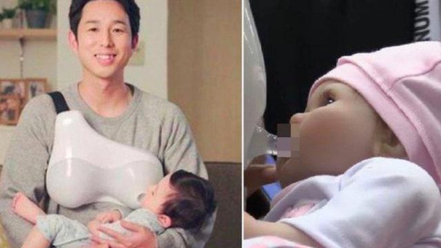 Mẹ bỉm sữa chuẩn bị nhàn rồi, người Nhật đã chế tạo 'ngực giả' để các ông bố cho con bú, ru con ngủ tuyệt vời thế này đây