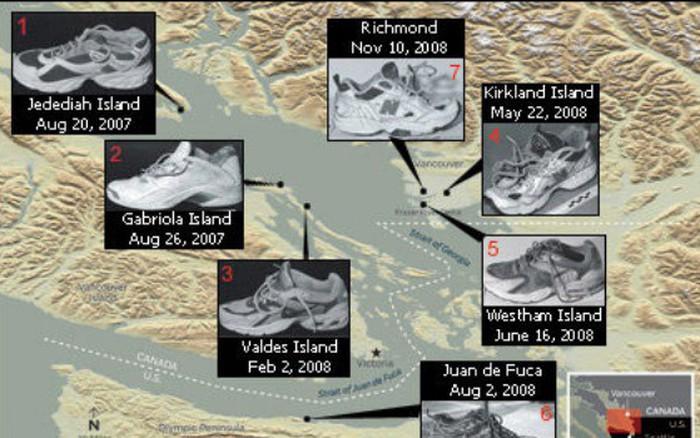 Bí ẩn 14 bàn chân mang giày thể thao trôi dạt vào bờ biển hơn 10 năm qua -