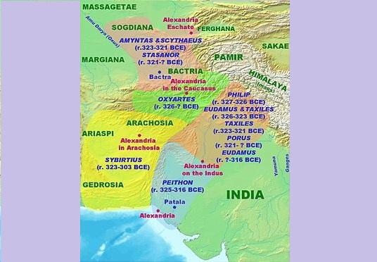 Bản đồ Tiểu Ấn dưới thời cai trị của người Macedonia dưới thời Alexande Đại Đế. Nguồn photo: hi.wikipedia.org