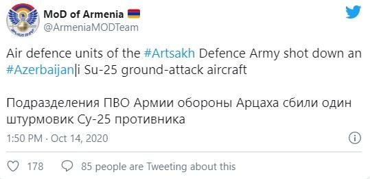 Armenia tuyên bố bắn hạ 1 chiến đấu cơ Su-25 Azerbaijan - F-16 Thổ Nhĩ Kỳ vẫn chưa về - Ảnh 1.