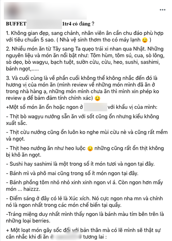 """Khách review buffet không ưng ý, nhân viên khách sạn 5 sao ở Sài Gòn mỉa mai """"1tr4 to quá, ăn 140k ở chợ Bến Thành còn hơn đó"""" - ảnh 1"""