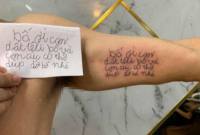 Mẩu giấy nhắn con gái 4 tuổi viết khiến ông bố nhòe mắt, quyết định xăm toàn bộ lên cánh tay - Ảnh 2.