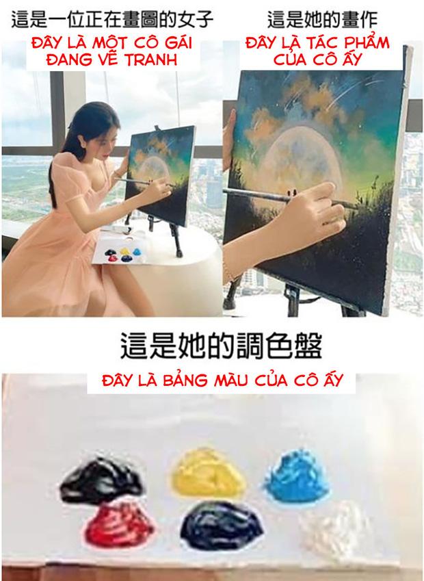 Bức ảnh làm màu của Võ Ngọc Trân lên hẳn MXH Trung, netizen chê không ngớt: Chẳng ai vẽ tranh mà ăn mặc như vậy - Ảnh 2.