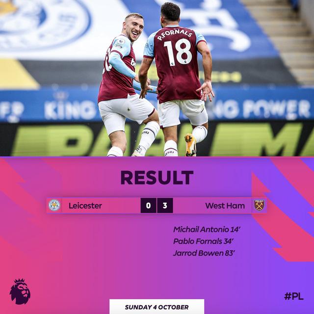 Leicester City bất ngờ thua đậm West Ham ngay trên sân nhà (Vòng 4 Ngoại hạng Anh) - Ảnh 3.