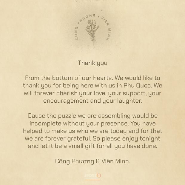 Tiết lộ nội dung thư và quà Công Phượng - Viên Minh tặng bạn bè tới dự đám cưới ở Phú Quốc - Ảnh 1.