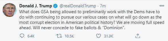 Ông Trump tiếp tục đăng tweet về chuyển giao quyền lực: Sẽ không bao giờ chịu thua phiếu bầu giả! - Ảnh 1.