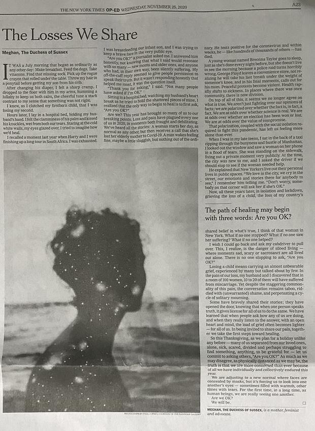 Bài viết của cô trên tờ báo New York Times