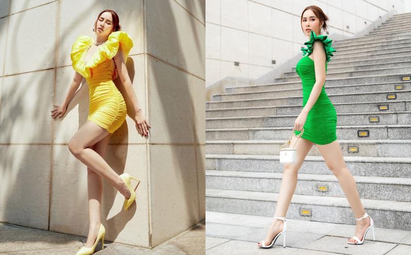 Hoa hậu Phan Ngọc Hân diện váy ngắn khoe đôi chân dài nuột nà trên phố