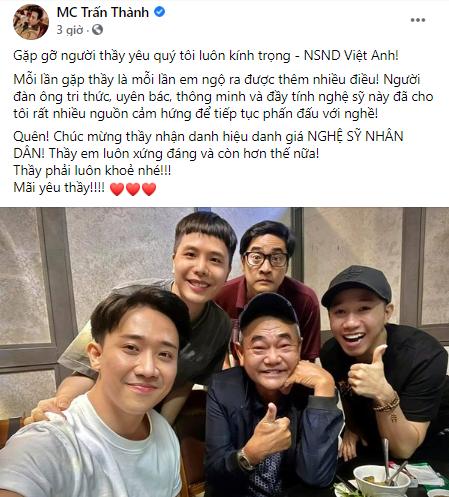 NSND Việt Anh hội ngộ đàn em Trấn Thành sau ồn ào với Cát Phượng - Ảnh 1.