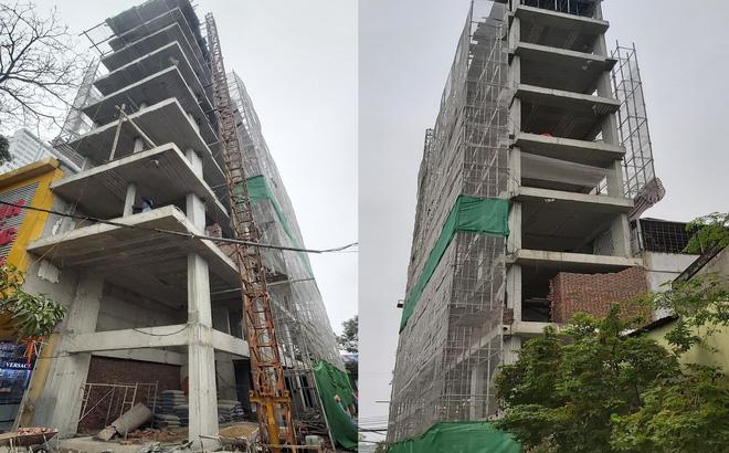 Căn nhà tầng cao chót vót đang xây giữa thành phố Vinh vướng nhiều sai phạm - Ảnh 1.