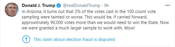 TT Trump báo tin vui về 90.000 phiếu bầu có thể sắp về tay ông ở Arizona: Phép màu từ đâu tới? - Ảnh 1.