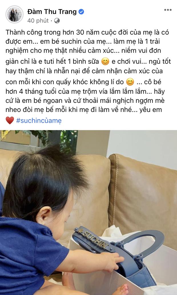 `Đàm Thu Trang chi tiền tặng túi hiệu xịn xò in cả tên cho con gái dịp cuối năm: Rich kid Vbiz là đây chứ đâu! - Ảnh 1.