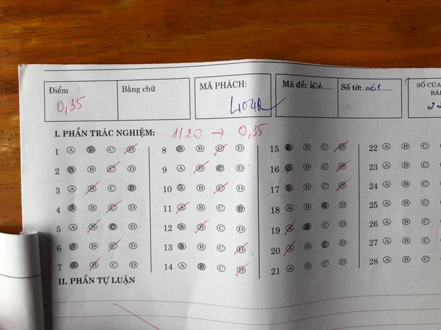 Đỉnh cao của số nhọ: Khoanh trắc nghiệm chỉ đúng 1/20 câu, điểm tổng của bài kiểm tra còn sốc hơn - Ảnh 1.