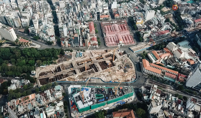 Flycam cận cảnh nhà ga ngầm trung tâm Bến Thành, công trình phức tạp nhất vì kết nối 4 tuyến Metro ở Sài Gòn - Ảnh 19.