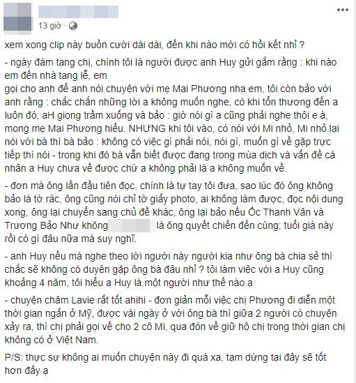 Quản lý cũ tiết lộ sự thật về cuộc điện thoại của Phùng Ngọc Huy trong tang lễ diễn viên Mai Phương - Ảnh 1.