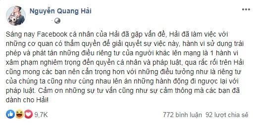 Quang Hải bị hack facebook, lộ nhiều tin nhắn có nội dung nhạy cảm - Ảnh 2.