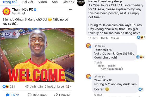 """Fanpage CLB Thanh Hóa bị """"sờ gáy"""" khi tung tin chào đón Yaya Toure đến V.League chỉ để vui thôi - Ảnh 1."""
