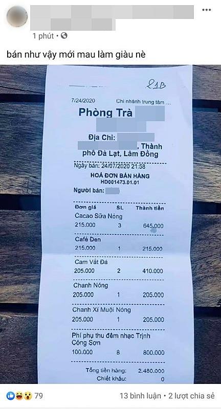 Cô gái đăng đàn chê quán trà ở Đà Lạt bán giá cắt cổ, ly cà phê đen tận 215k nhưng khi dân mạng xem kỹ hóa đơn liền quay ngược lại mắng không trượt câu nào - Ảnh 1.