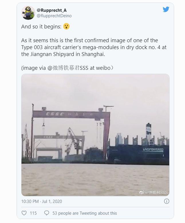 Tàu sân bay đang đóng dở bỗng mất tích bí ẩn: Bức ảnh rò rỉ làm lộ bí mật của Trung Quốc - Ảnh 1.