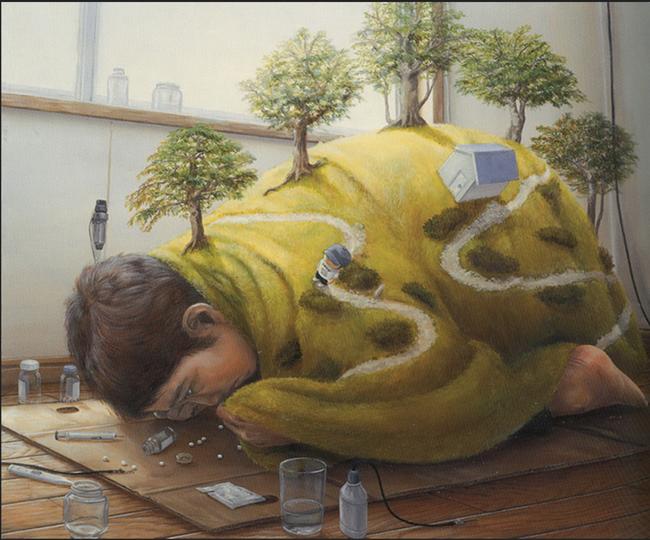 Qua đời ở tuổi 31, họa sĩ Nhật để lại 180 tác phẩm siêu thực đầy ám ảnh về góc khuất của thế giới hiện đại - Ảnh 7.