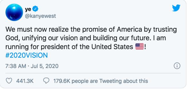 NÓNG: Kanye West tuyên bố chính thức tranh cử Tổng thống Mỹ, khiến cả thế giới chấn động với 1 tweet ngắn - Ảnh 2.