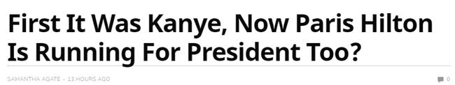 Sau Kanye West, người đẹp tỷ phú Paris Hilton bất ngờ tuyên bố tranh cử Tổng thống Mỹ? - ảnh 1
