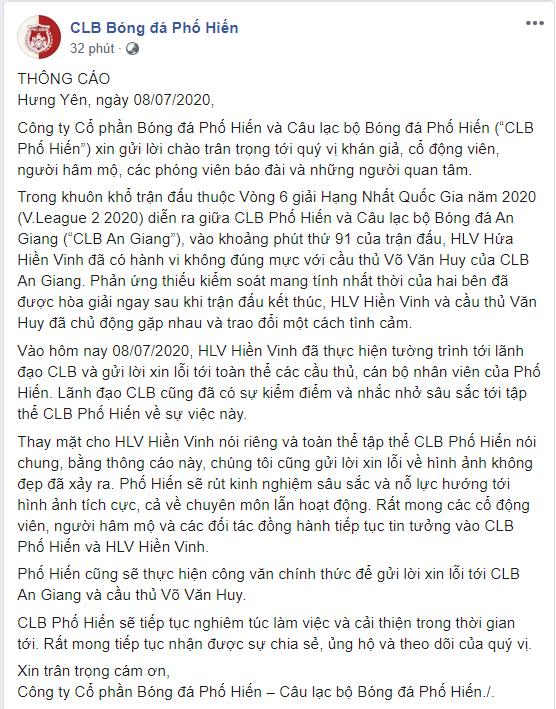 Hối hận sau khi bóp cổ học trò cũ, HLV Hứa Hiền Vinh viết tâm thư xin lỗi - Ảnh 3.