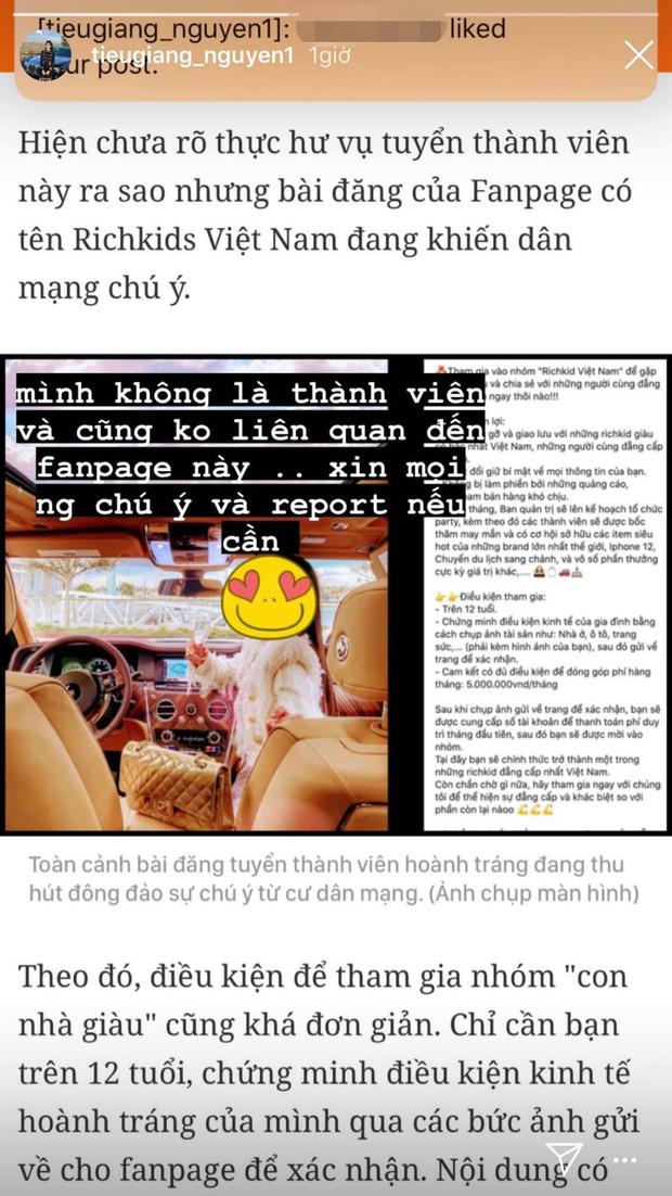 Tiểu Giang - chị cả giới con nhà giàu lên tiếng khi bị fanpage rich kid lấy ảnh tuyển hội viên, thu phí 5 triệu/tháng - Ảnh 2.