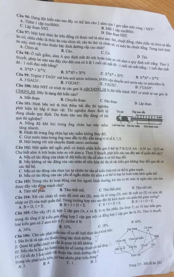 [CẬP NHẬT] Đáp án tất cả các mã đề môn Sinh học kỳ thi tốt nghiệp THPT Quốc gia năm 2020 - Ảnh 5.