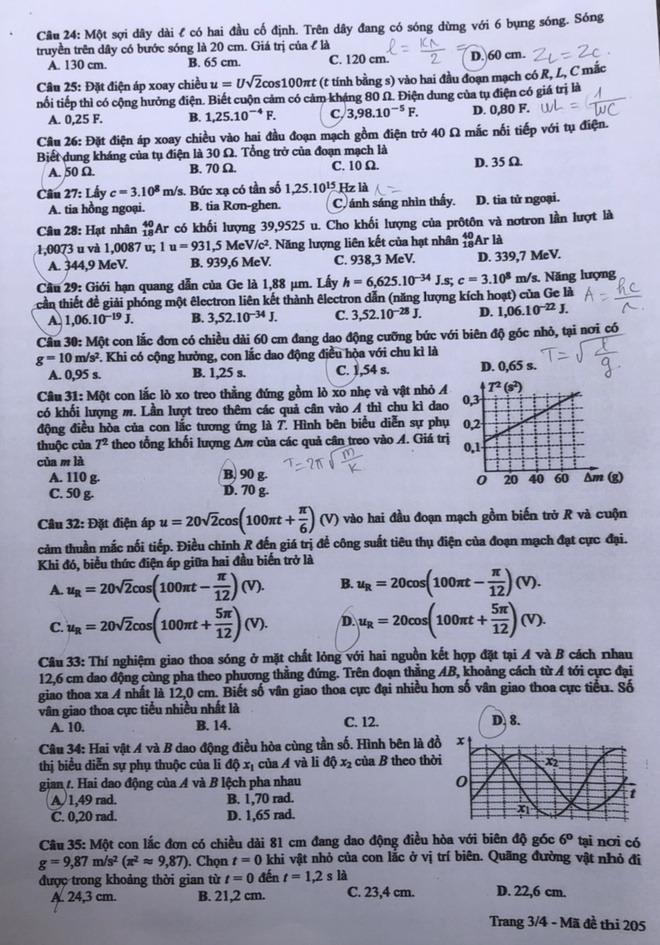 [CẬP NHẬT] Đáp án tất cả các mã đề môn Vật lý kỳ thi tốt nghiệp THPT Quốc gia năm 2020 - Ảnh 4.