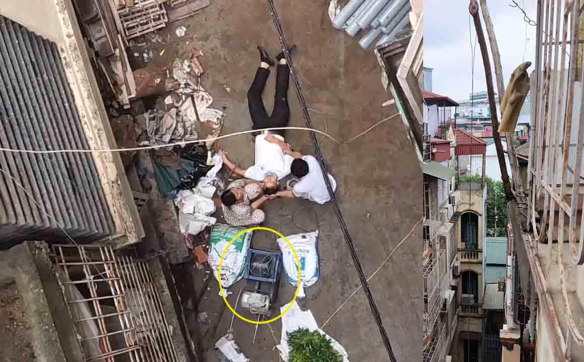 Đang đi trong ngõ ở trung tâm Hà Nội, người đàn ông bất ngờ bị xe rùa từ tầng 5 rơi trúng