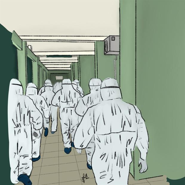 Bộ tranh gây xúc động mạnh của nữ sinh Đà Nẵng: Bất chấp virus là kẻ thù mạnh, y bác sĩ luôn là những anh hùng áo trắng - Ảnh 1.