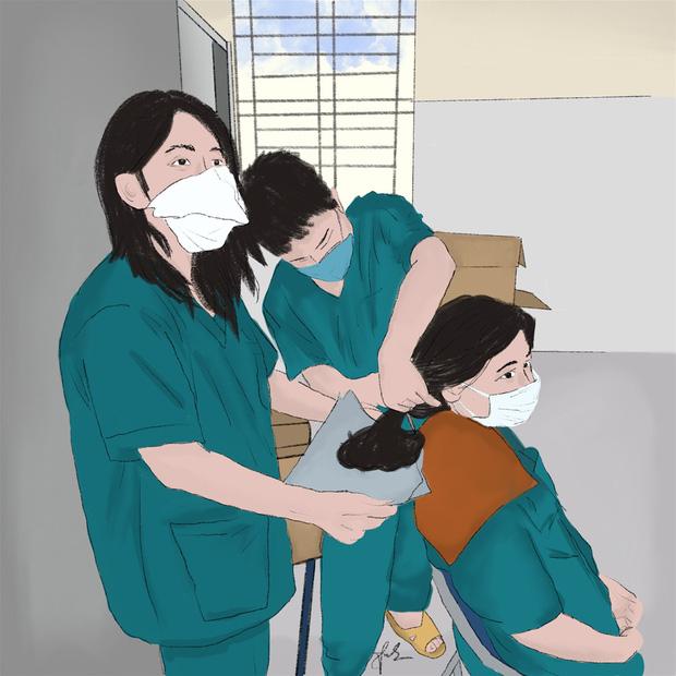 Bộ tranh gây xúc động mạnh của nữ sinh Đà Nẵng: Bất chấp virus là kẻ thù mạnh, y bác sĩ luôn là những anh hùng áo trắng - Ảnh 2.