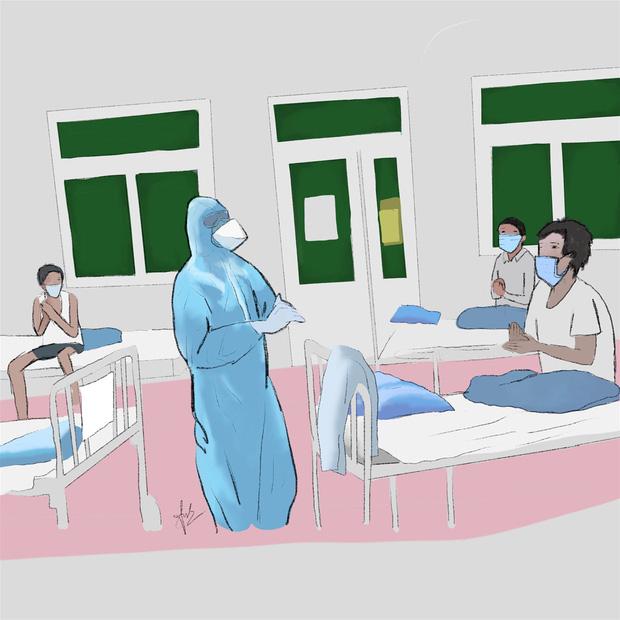 Bộ tranh gây xúc động mạnh của nữ sinh Đà Nẵng: Bất chấp virus là kẻ thù mạnh, y bác sĩ luôn là những anh hùng áo trắng - Ảnh 3.