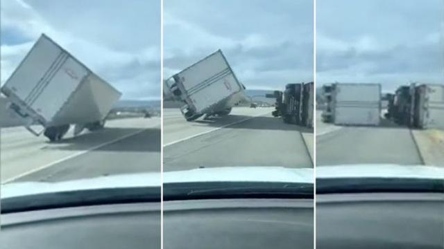 Video: 45 xe tải bị lật nhào do bão lớn trên đường cao tốc, 4 lái xe bị thương - Ảnh 4.