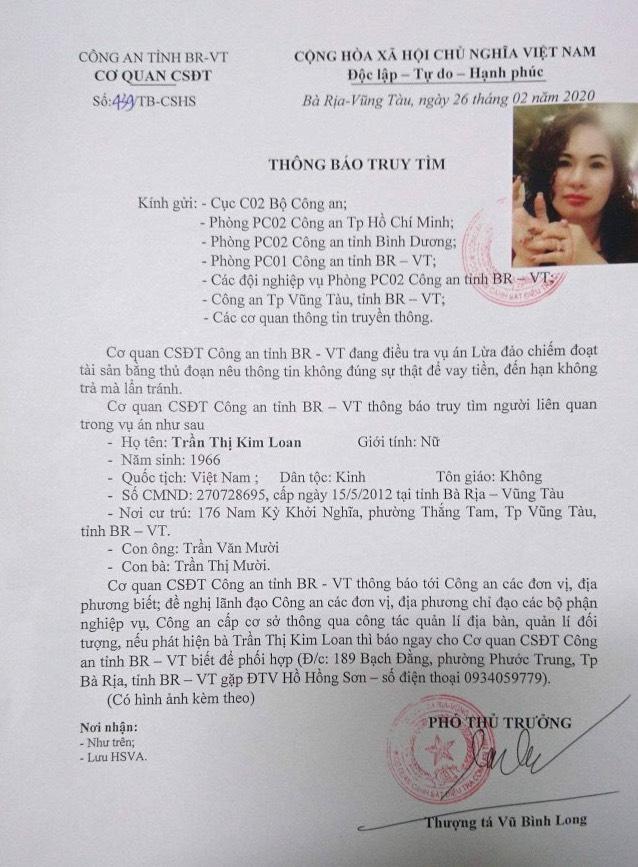 Truy tìm vợ nguyên giám đốc Sở Nội vụ Bà Rịa - Vũng Tàu để làm rõ vụ lừa đảo hàng trăm tỷ đồng - Ảnh 3.