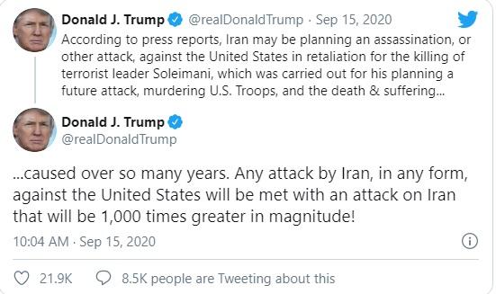 Tổng thống Trump cảnh báo đanh thép chưa từng thấy với Iran - Ảnh 1.