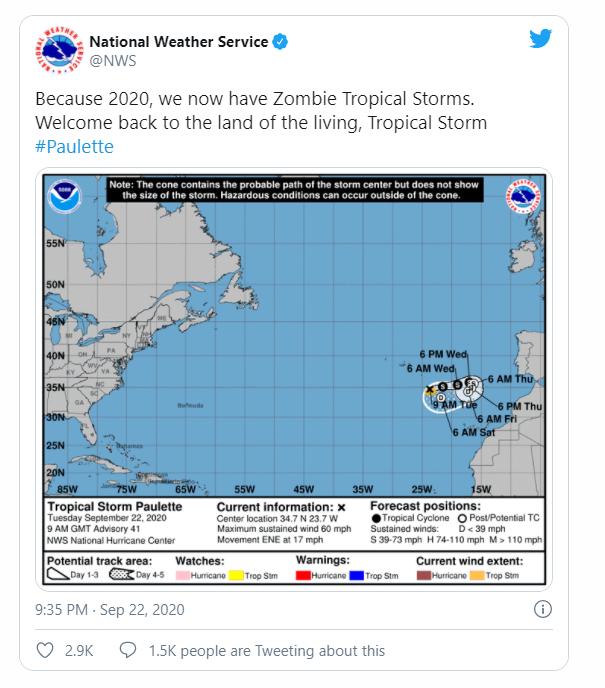 Phát hiện một cơn bão nhiệt đới zombie vừa bất ngờ sống dậy trên Đại Tây Dương - Ảnh 1.