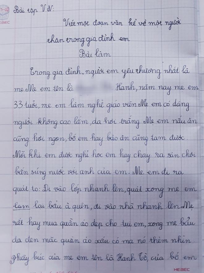 Yêu cầu tả người thân, cậu bé lớp 1 viết nguyên cả trang giấy nhưng người mẹ giật mình kêu viết lại còn dân mạng ôm bụng cười lăn - Ảnh 1.