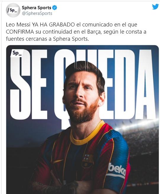 NÓNG: Rộ tin đồn Messi đã xác nhận ở lại Barcelona - Ảnh 1.