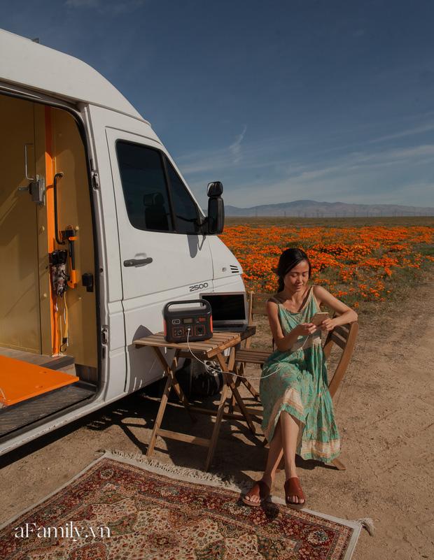 Đôi vợ chồng người Việt đầu tư gần 600 triệu đồng mua chiếc xe Van, tự xây bếp và phòng ngủ rồi đưa nhau đi khắp nước Mỹ, mỗi sáng thức dậy là một view khác nhau - Ảnh 6.