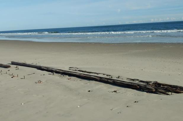 Xác tàu đắm bí ẩn nổi lên trên cát ở bãi biển Carolina - Ảnh 1.