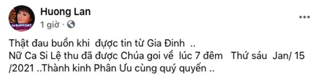 Sao Việt đau xót, viết lời tiễn biệt khi nghe tin Lệ Thu qua đời tại Mỹ vì Covid-19 - Ảnh 3.
